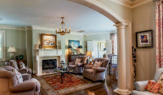 Greenville SC home by Carver Group luxury homebuilder living room with arched doorway