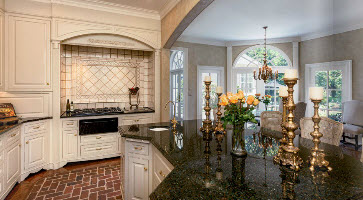 Greenville SC home by Carver Group luxury homebuilder full brick kitchen flooring