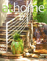 athome Magazine Summer 2013 'Design Driven Cliffs lake house inspired by grandparent's log cabin Custom' Home Article about Carver Group