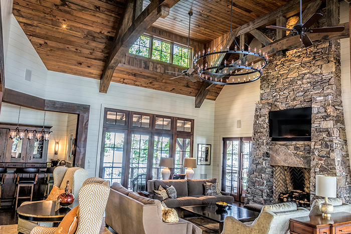 The Cliffs at Keowee Falls South New Lakefront Home Reclaimed Heart Pine T&G Ceiling