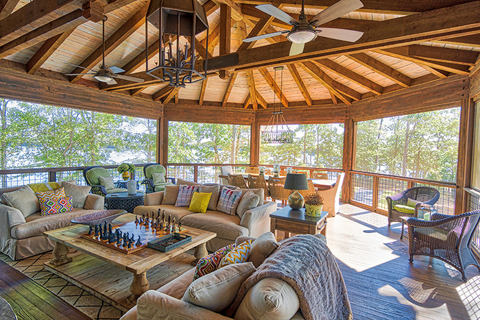 The Cliffs at Keowee Falls South New Lakefront Home Reclaimed Heart Pine Decking for Ceiling