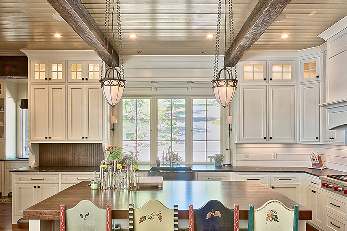 The Cliffs at Keowee Falls South New Lakefront Home Kitchen Island,Reclaimed Beams