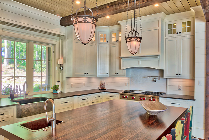 The Cliffs at Keowee Falls South New Lakefront Home Kitchen Island Cherry Wood Top