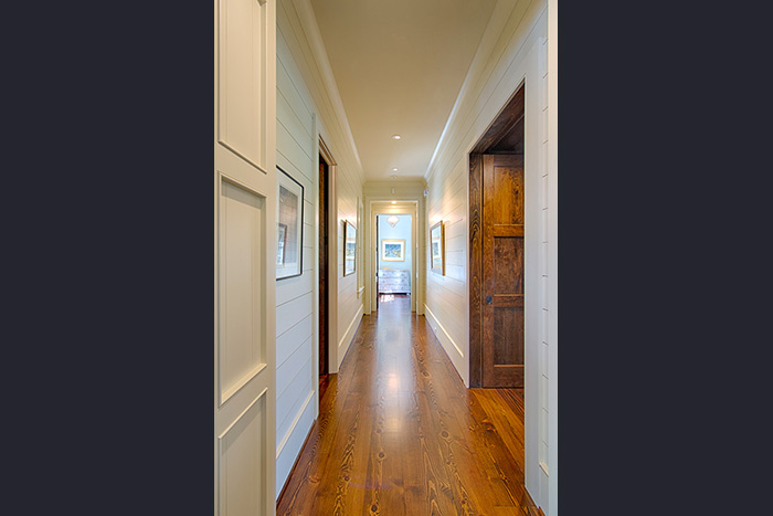 The Cliffs at Keowee Falls South New Lakefront Home Painted Wood Hallway, Wide Plank Heart Pine Floors