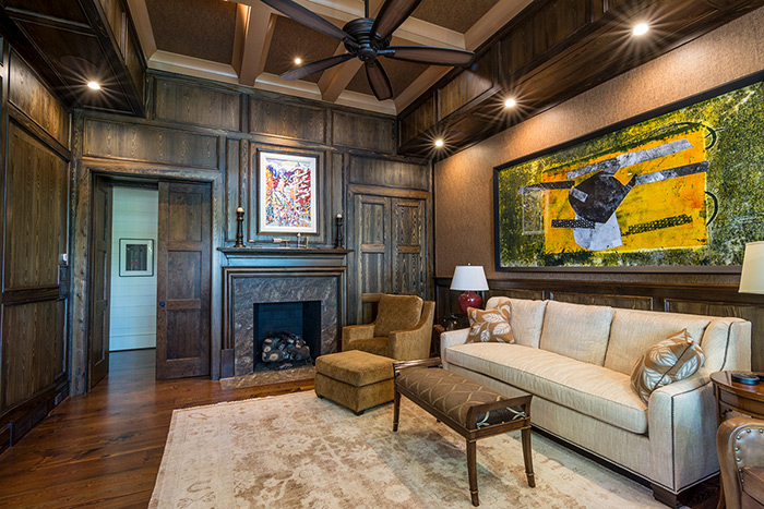 The Cliffs at Keowee Falls South New Lakefront Home Cypress Paneled Walls In Study