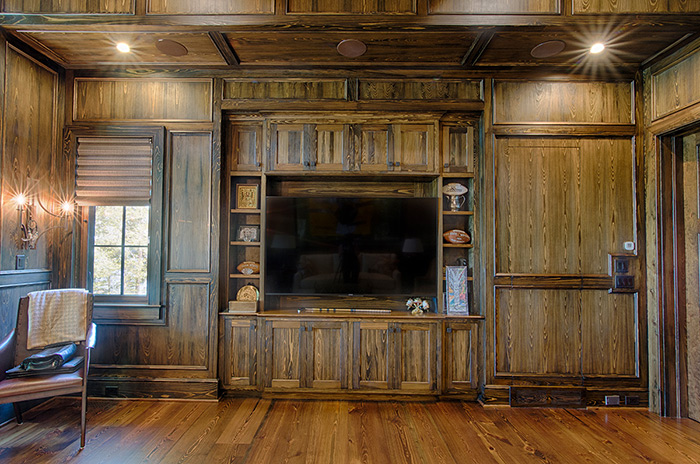 The Cliffs at Keowee Falls South New Lakefront Home Cypress Paneled Walls And TV Cabinet