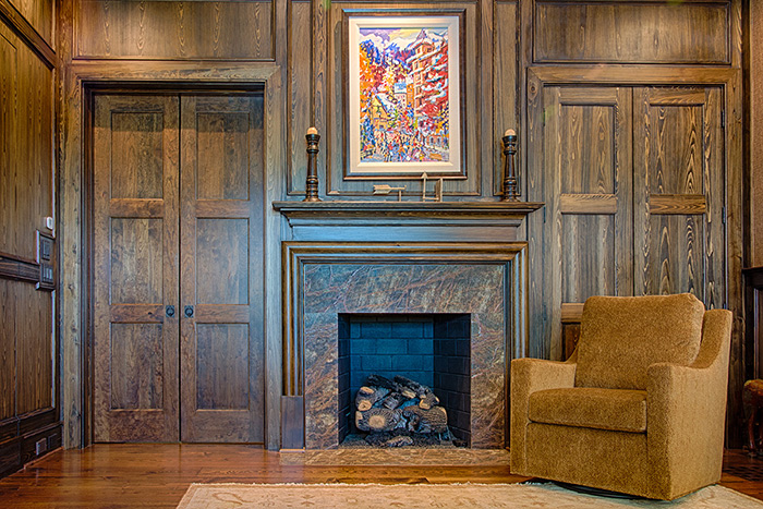 The Cliffs at Keowee Falls South New Lakefront Home Cypress Paneled Fireplace Wall In Study