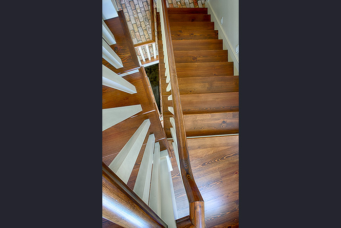 The Cliffs at Keowee Falls South New Lakefront Home Custom-Built Heart Pine Staircase