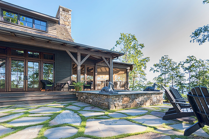 The Cliffs at Keowee Falls South New Lakefront Home Large Loose Set Flagstone Patio