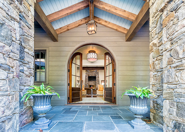 The Cliffs at Keowee Falls South New Lakefront Home Custom Amish-made Mahogany Arched Front Entry Door Unit
